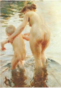 Une première, de Anders Zorn. Cette toile du grand peintre suédois serait bannie de l'Île-des-Soeurs